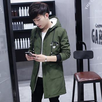 Модерно мъжко дълго яке с качулка и апликации