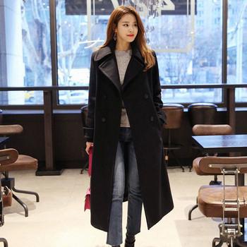 Κομψό μακρύ παλτό με κολάρο σε σχήμα V σε δύο χρώματα - Badu.gr Ο ... 8adef68d8f4