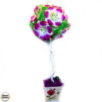 Сувенир - Цветно дърво - топиар от изкуствени цветя - 56 см. Модел DM-9022