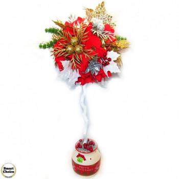 Сувенир - Коледно дърво - топиар от изкуствени цветя - 60 см. Модел DM-9021