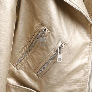 Модерно дамско яке за есента от еко кожа с ципове в пет цвята
