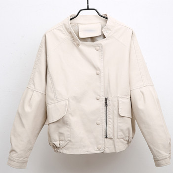 НОВ модел дамско яке за есента от еко кожа с копчета и големи джобове - два цвята