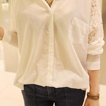 Стилна дамска риза с дантела в бял и черен цвят