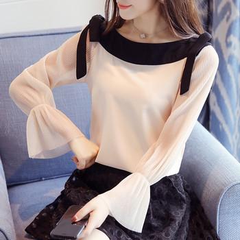 Елегантна дамска риза с панделки