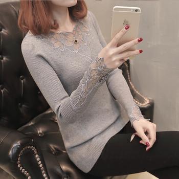 Елегантен дамски пуловер с дантела в четири цвята
