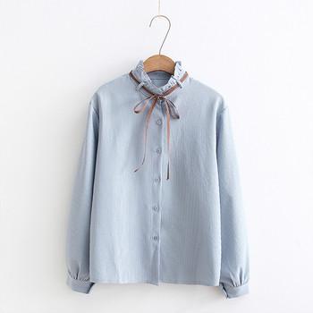 Стилна дамска риза с панделка в пет цвята