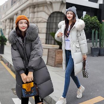 Χοντρό και μακρύ χειμωνιάτικο γυναικείο μπουφάν - μαύρο, λευκό, σκούρο πράσινο, γκρι χρώμα