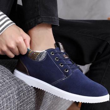 Актуални мъжки обувки с мека подплата в син и черен цвят