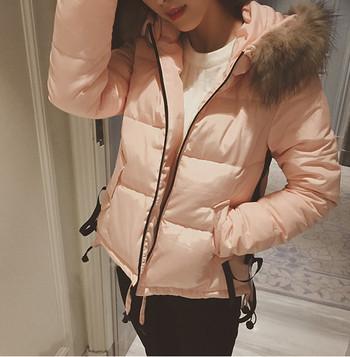 Модерно дамско яке в три цвята с пух