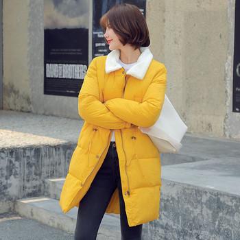 Μακρύ χειμωνιάτικο γυναικείο μπουφάν  με μαλακό κολάρο σε τέσσερα χρώματα