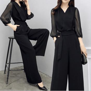 Дамски стилен гащеризон в черен цвят