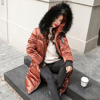 Μοναδικό γυναιεκίο μπουφάν με μακριά μανίκια με κουκούλα και  γούνα σε τέσσερα χρώματα