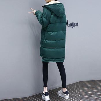 НОВО дълго зимно дамско яке в зелен цвят с качулка