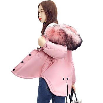 Νέο γυναικείο μπουφάν με κουκούλα και γούνα - τέσσερα χρώματα