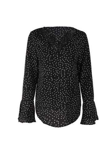 Модерна дамска риза  с V-образно деколте и лотос ръкав в няколко цвята