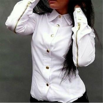 Стилна дамска риза с елемент -цип на ръкавите в бял,розов и зелен цвят