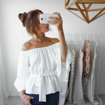 Модерна дамска риза с паднали ръкави и лотос ръкав в няколко цвята