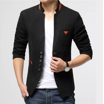 Мъжкo сако модел Slim  в черен и син цвят с цветна подплата