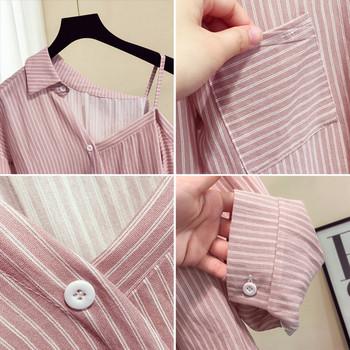 Интересен модел дамска раирана риза с паднало рамо и елемент-джоб в четири цвята