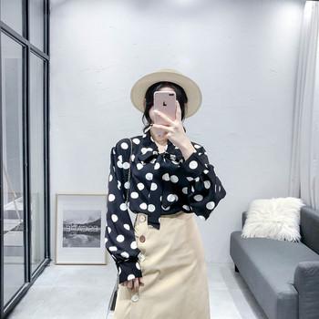 Стилна дамска риза с елемент панделка в три  цвята