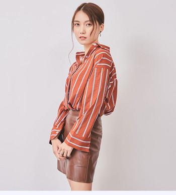 Стилна дамска раирана риза