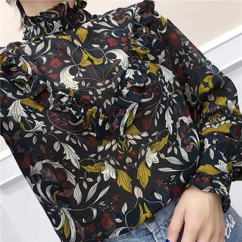 Стилна дамска риза широк модел с десен