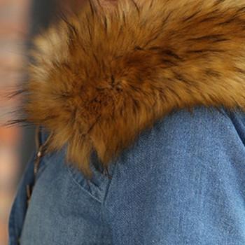 Μακρύ γυναικείο τζιν μπουφάν για το φθινόπωρο και το χειμώνα με κουκούλα