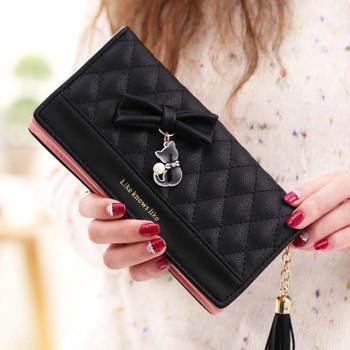 Μοντέρνο γυναικείο πορτοφόλι με τρισδιάστατο στοιχείο σε διάφορα χρώματα