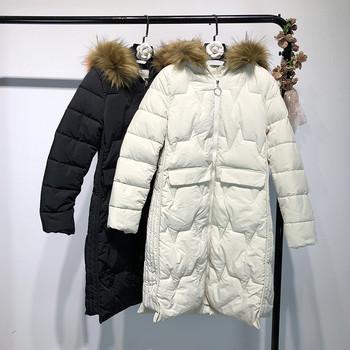 НОВО дълго дамско яке с качулка в черен и бял цвят
