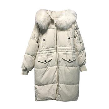 Μακρύ χειμωνιάτικο μπουφάν  γυναικείο με κουκούλα σε μαύρο, λευκό και σκούρο μπλε χρώμα
