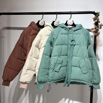 Χειμερινό γυναικείο μπουφάν με κουκούλα σε τρία χρώματα