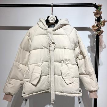 Зимно дамско яке с качулка в три цвята