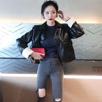 Καθημερινό γυναικείο μπουφάν  από οικολογικό δέρμα με τσέπες σε δύο χρώματα