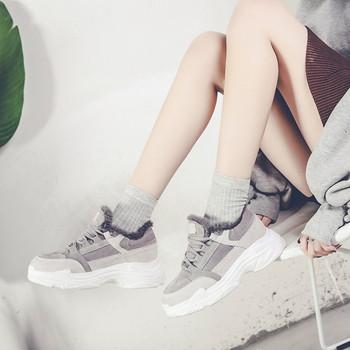 Дамски спортни-зимни обувки с мека подплата в сив цвят