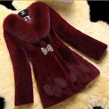 Ново дамско пухено зимно палто с катарама - 4 различни модела в бяло, черно, виненочервено, кафяво