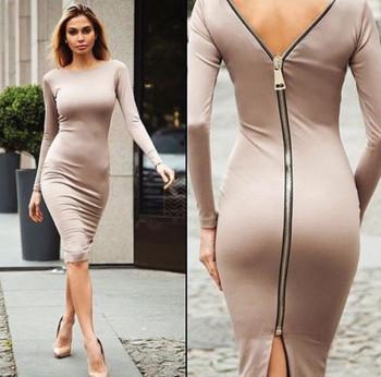 Стилна дамска рокля с дълъг ръкав в четири цвята