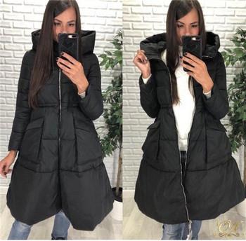 Γυναικείο μοντέρνο χειμωνιάτικο μπουφάν με κουκούλα και τσέπες σε διάφορα χρώματα