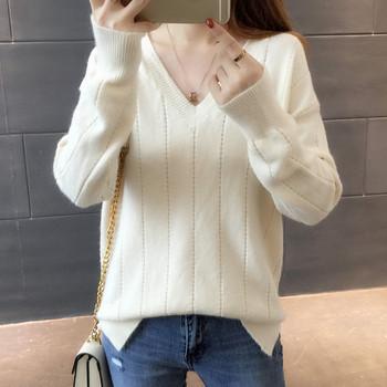 Модерен дамски пуловер с меко покритие в няколко цвята