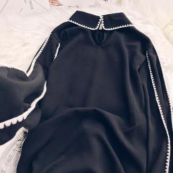 Дамска стилна риза с дълъг ръкав в черен цвят