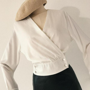 Дамска модерна риза с V-образно деколте в три цвята