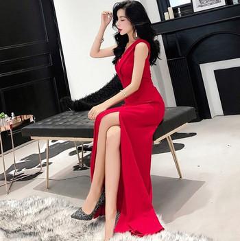 ХИТ дълга елегантна дамска рокля в черен и червен цвят