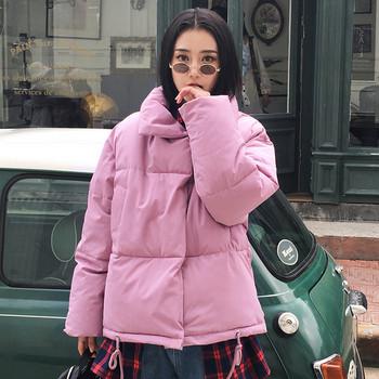 Дамско зимно яке с висока яка в няколко цвята - широк модел