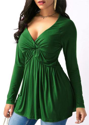 Дамска блуза широк модел с V-образно деколте в няколко цвята