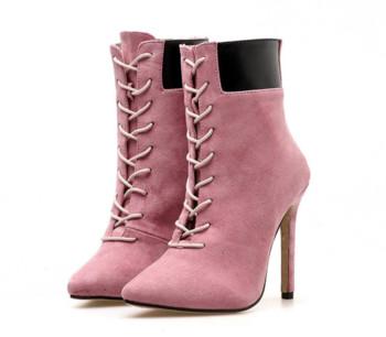 ed3f78aecf9 Κομψές γυναικείες μπότες σε οικολογικό σουέτ με ροζ και μπεζ χρώμα ...