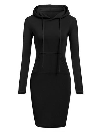 НОВО Модерна дамска памучна рокля с джоб и качулка в няколко цвята
