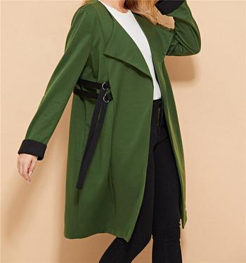 Дълго дамско яке в зелен цвят с връзки