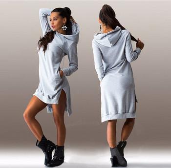 6c33a1104e84 Αθλητικό-casual γυναικείο φόρεμα με κουκούλα σε διάφορα χρώματα ...