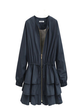 Модерно дамско яке с волани и връзки на талията в два цвята