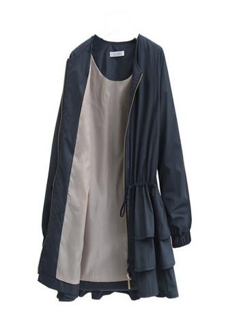 Μοντέρνο γυναικείο μπουφάν με βολάν και κορδόνια στη μέσης σε δύο χρώματα