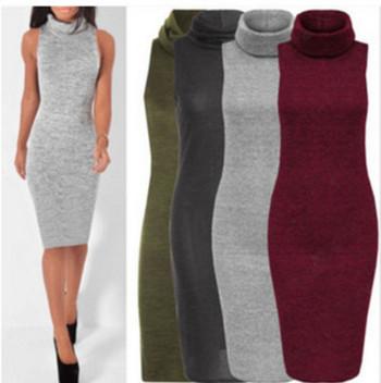 Дамска рокля без ръкави с висока яка в няколко цвята - Slim модел